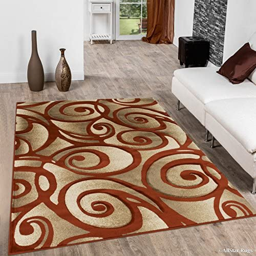 Allstar 5×7 Beige and Ivory Modern and Contemporary Hand Carved Rectangular Accent Rug with Rust Swirl Design 5 2 x 7 1