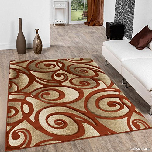 (Allstar 8 X 11 Rust Woven Modern Evolution Swirl Design Area Rug (7' 9