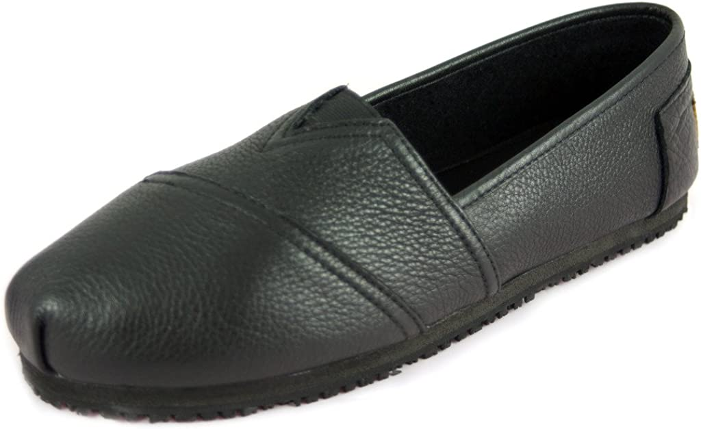 Skid Slip Resistant Leather Flat Shoes