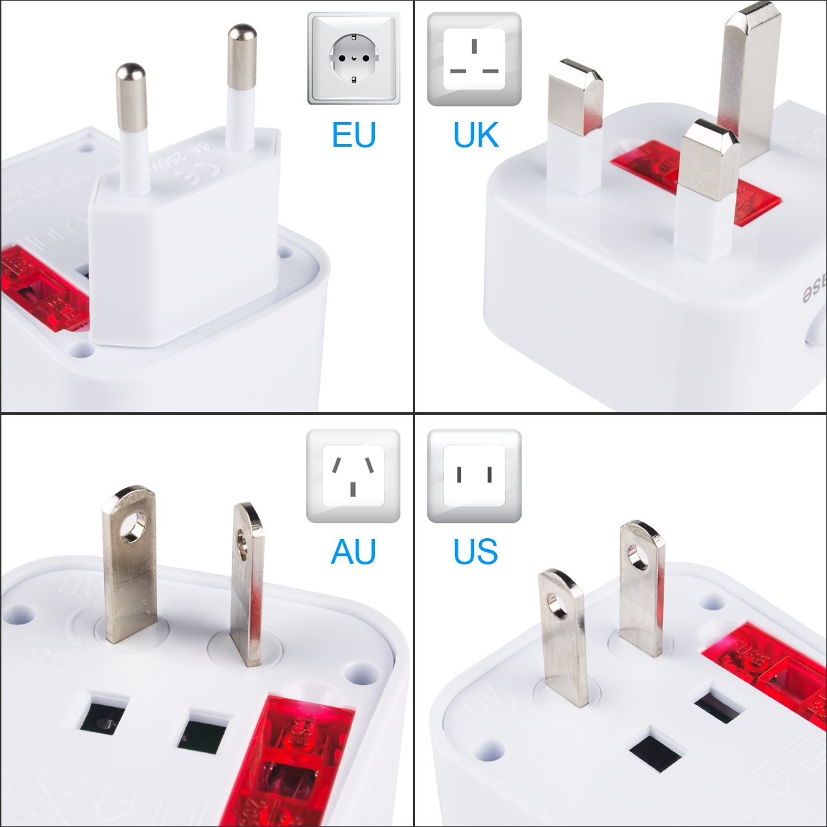 Keenstone 2Pcs International Power Adapter Plug with Dual USB Charging Ports Universal Travel Adapter for US Europe Ireland UK Australia Asia Worldwide Power Plug