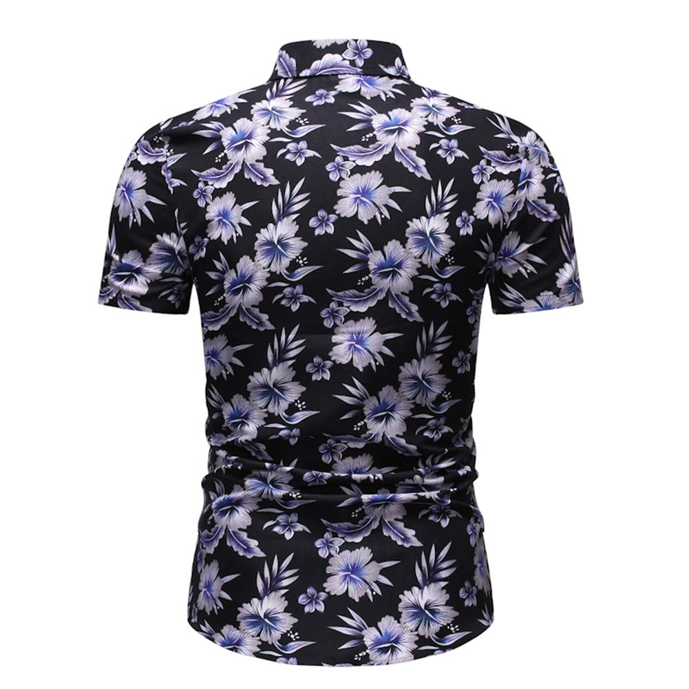 Alician Summer Mens Casual Floral Short Sleeve Hawaii Beach Shirt