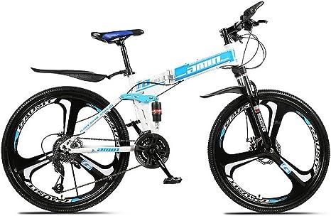 Bicicletas de montaña plegables para adultos, bicicleta de adulto, 24 pulgadas, 3/6/10, rueda de corte MTB, color azul, tamaño 21-stage shift: Amazon.es: Deportes y aire libre