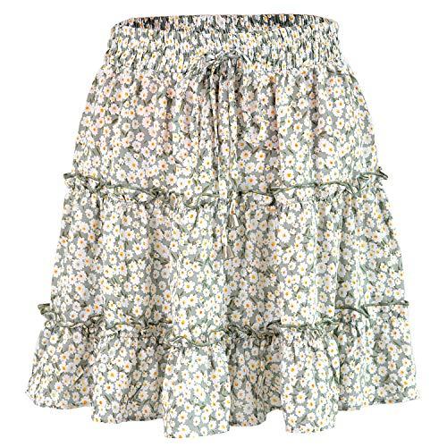Women's High Waist Flounce Ruffle Green Color Floral Print Mini Pleated Skirt, Size L=Tag XL