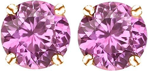 14k Gold Butterfly Backings /& Sterling Silver Basket Settings Round Cubic Zirconia Simulated Pink Tourmaline Stud Earrings 0.50ctw
