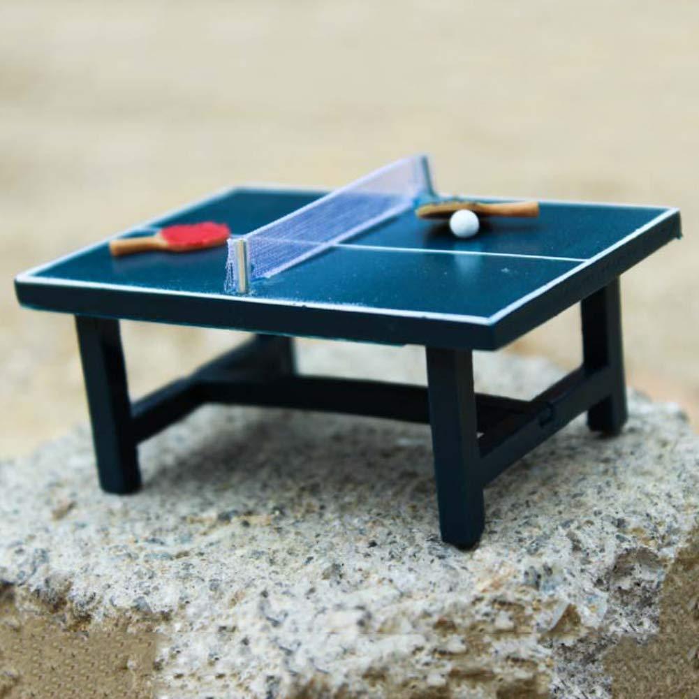 qingsb Ni/ños Regalo 1:12 Casa de mu/ñecas Miniatura Juego de Tenis de Mesa Realista Juguete de Madera