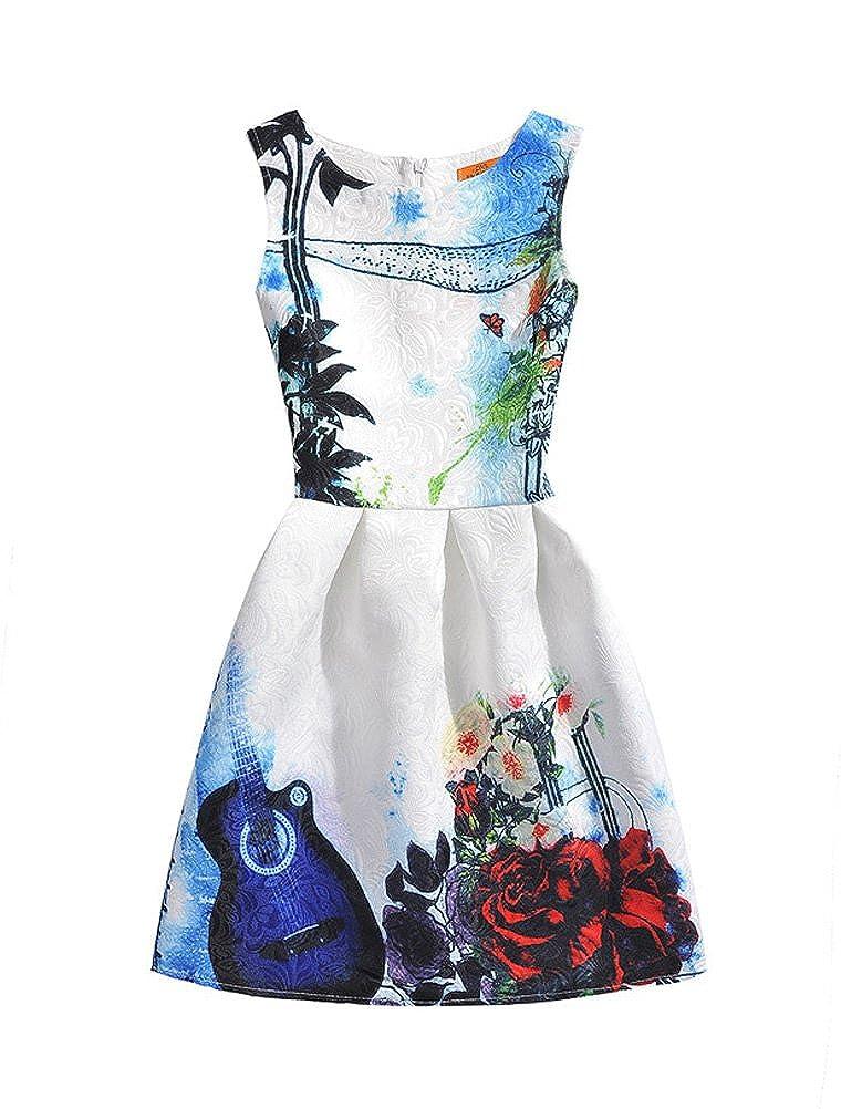 Mallimoda Girls Sleeveless Floral Print Summer Party Fairy Dress