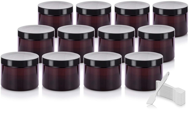 Amber PET Plastic BPA Free Refillable Low Profile Jar – 6 oz 12 Pack Spatulas