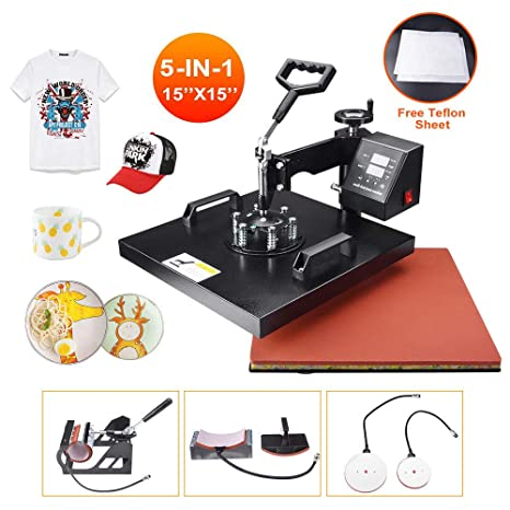 Power Heat Press Machine 15 X 15 Professional Swing Away Heat Transfer 5 in 1 Digital Sublimation 360-Degree Rotation Multifunction Combo for T-Shirt Mugs Hat Plate Cap