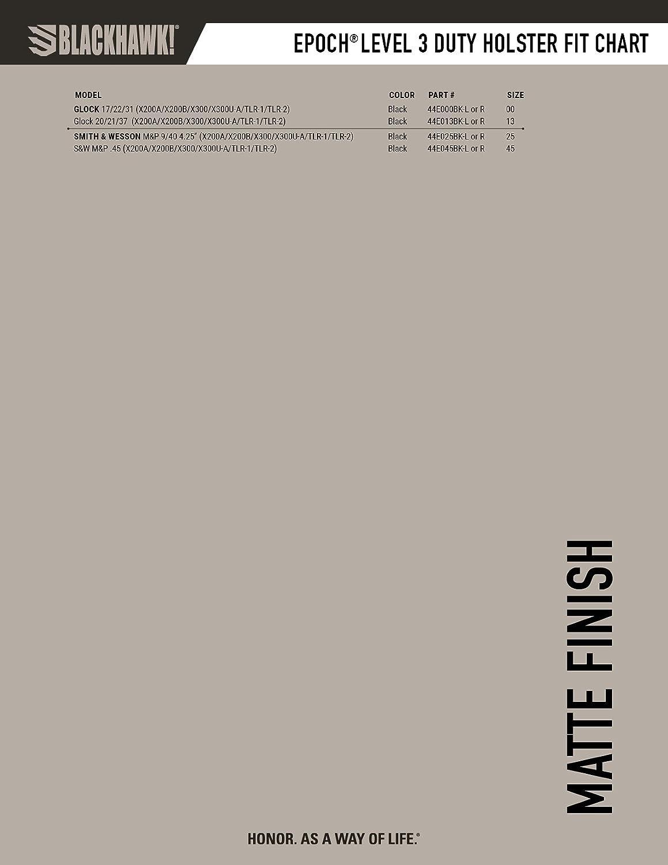 Epoch Level 3/lumi/ère Roulement Duty Holster Blackhawk Finition Mate