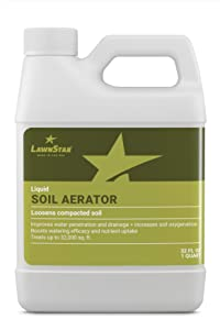 LawnStar Liquid Soil Aerator (32 OZ) - Loosens & Conditions Compacted Soil - Alternative to Core and Mechanical Aeration - Improves Water Penetration & Drainage + Soil Oxygenation - American Made