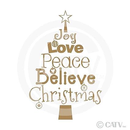 Peace Christmas Quotes.Amazon Com Gold Christmas Tree Words Joy Love Peace