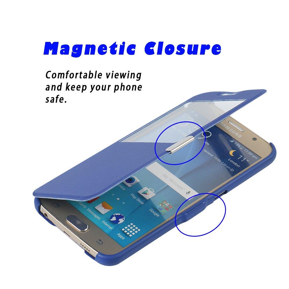 S6 Case, Galaxy S6 Case, MTRONX Window View Magnetic Closure Twill PU  Leather Ultra Folio Flip Slim Case Cover for Samsung Galaxy S6 -  Blue(MG1-BU)