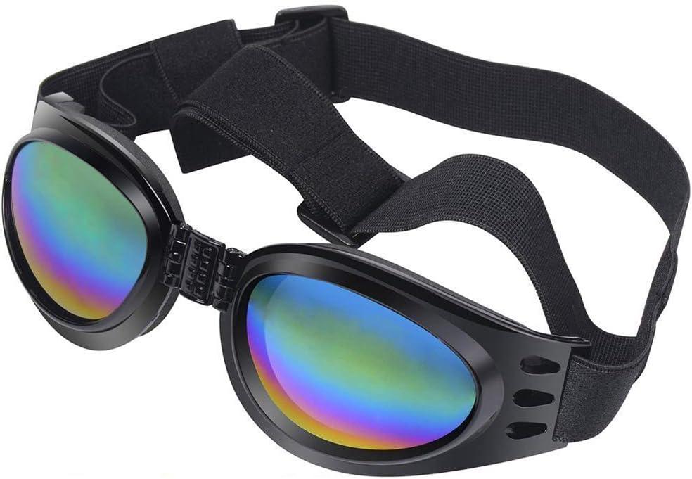 Nubstoer Gafas de Sol para Perro, Gafas para Mascotas, Gafas de protección UV Resistente al Viento Gafas de Sol Plegables para Mascotas Negro