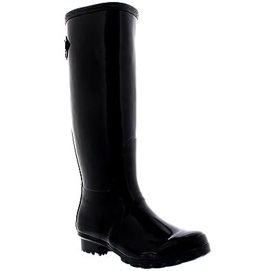 Damen Adjustable Back Tall Gloss Regen Wellies Gummistiefel Stiefel - Schwarz - 38 - CD0019 6qm1C76