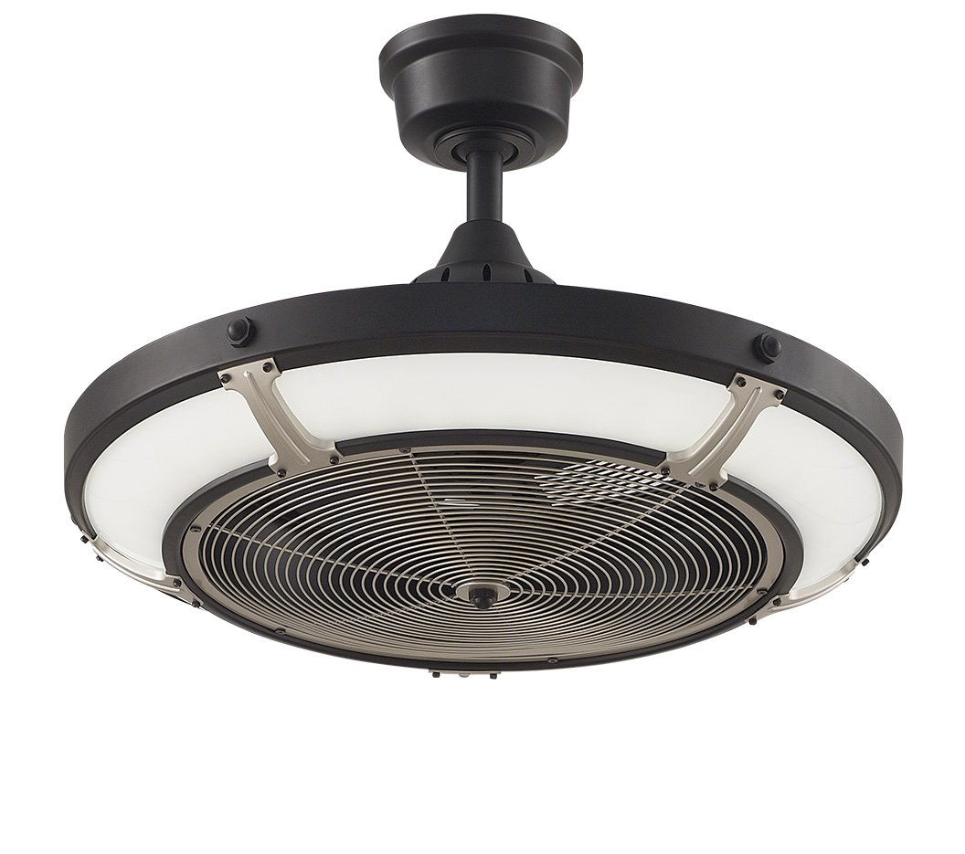 Fanimation Pickett Drum Black with Satin Brass accents with LED Shade and Remote 24 inch Diameter FP6260BLBS