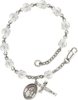 18-Inch Rhodium Plated Necklace with 4mm Rose Birthstone Beads and Sterling Silver Saint Alexander Sauli Charm.