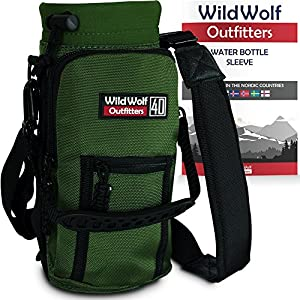 Water Bottle Holder for 40oz Bottles by Wild Wolf Outfitters - Green - Carry, Protect and Insulate Your Best Flask with This Military Grade Carrier w/ 2 Pockets & an Adjustable Padded Shoulder Strap