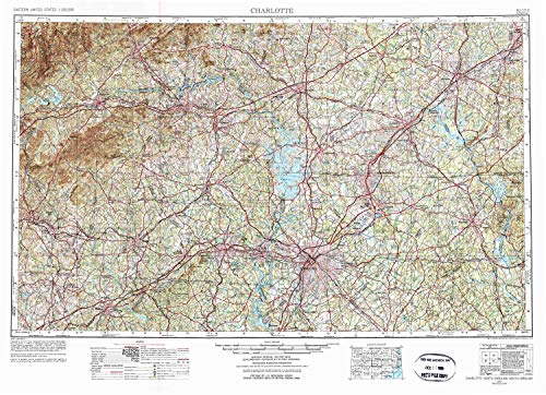 YellowMaps Charlotte NC topo map, 1:250000 Scale, 1 X 2 Degree, Historical, 1953, Updated 1975, 22.4 x 30.9 in - Polypropylene