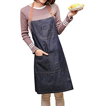 Amazon.com: Delantal ZeMooon con babero negro, ajustable ...