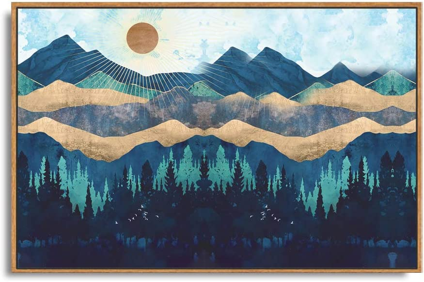 SIGNFORD Framed Canvas Home Artwork Decoration Abstract Mountain Nature Scenery Canvas Wall Art for Living Room, Bedroom - 16x24 inches