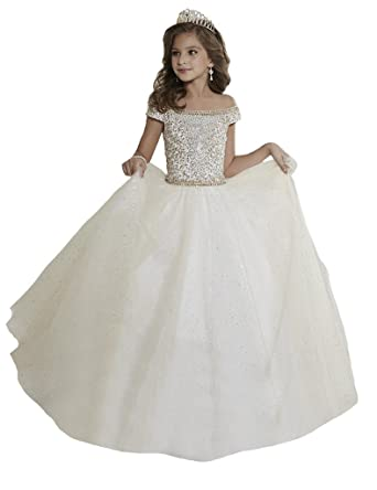 Amazon.com: Oudy Girls\' Bateau Crystals Pre-Teen Pageant Ball Gowns ...