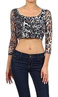 Imagenation Junior Size Leopard Print Lace Crop Top