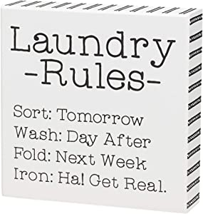 'Laundry' Funny Wood Box Sign (Rules)