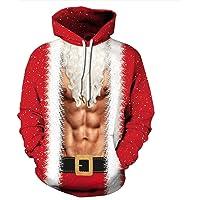 Batnott Herren Weihnachtspullover Ugly Oversize Weihnachten Hoodie Rot Kleidung Druck Lustig Geschenk für Männer Langarm Christmas Sweatshirt Xmas Party Pulli Mit Kapuze XXXL