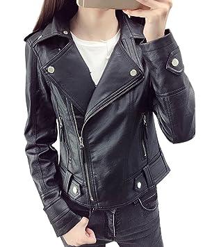 ba6c2f7c495 Mujer Chaquetas PU Cuero Moto Punk Cazadoras Corta con Cremallera - Negro    S