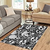 "InterestPrint Custom Skull in Sea of Roses Dia De Los Muertos Area Rug 5'3"" x 4', Sugar Skull Modern Indoor Carpet Floor Rugs Mat Collection for Living Room Bedroom Home Decor"