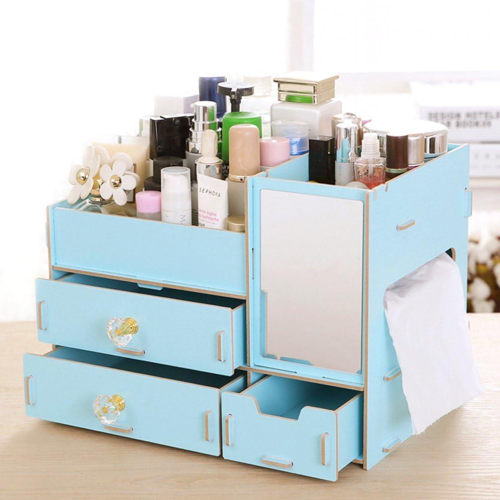 omgo almacenamiento maquillaje accesorios organizadores de maquillaje caja de madera con 3 cajones multifunción gran capacidad Organizador de Cosmética diario 4 colores disponibles: Amazon.es: Hogar