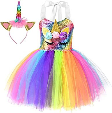 wetry Disfraz Carnaval Niña Unicornio Vestidos de Carnaval para ...