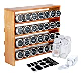 AmHoo Wooden Spice Rack with 28 Clear Glass Jar Bottles - 4 Tiers Seasoning Shelf Kitchen Spice Rack Organizer and 80 Chalkboard Labels