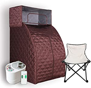 Smartmak Steam Sauna Set, 2L Steamer with Remote Control, Home Full Body One Person Heat Box with Head Cover and Chair kit for Weight Loss &Detox Therapy- Brown