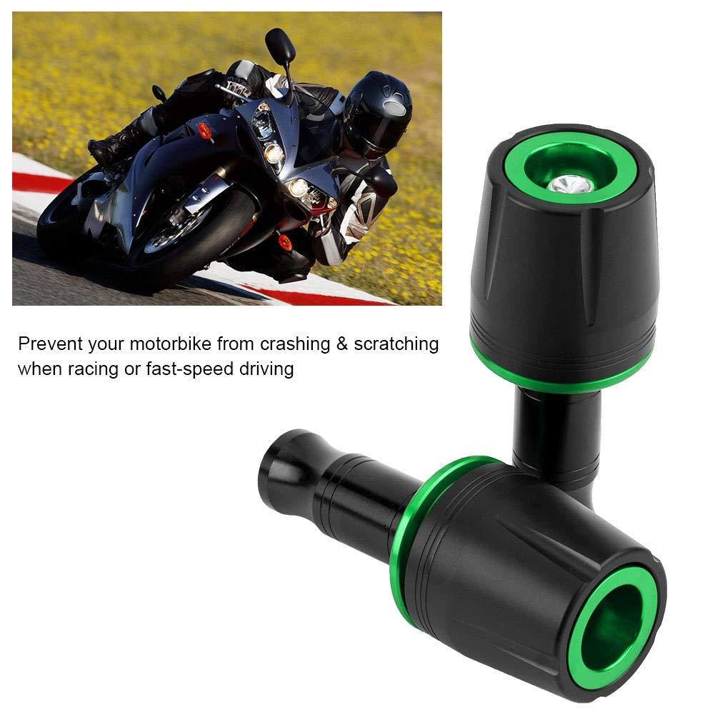 Duokon 2Pcs Motocicleta Frame Sliders, Aleación de aluminio Universal Slider Frame Sliders Crash Pad Protector Con 10mm tornillo para Z125(Verde)