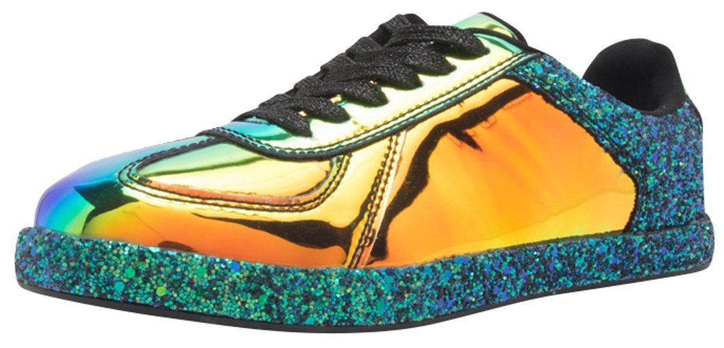 Cambridge Select Women's Closed Round Toe Lace-up Metallic Iridescent Fashion Sneaker B078HVKHS6 8 B(M) US|Black