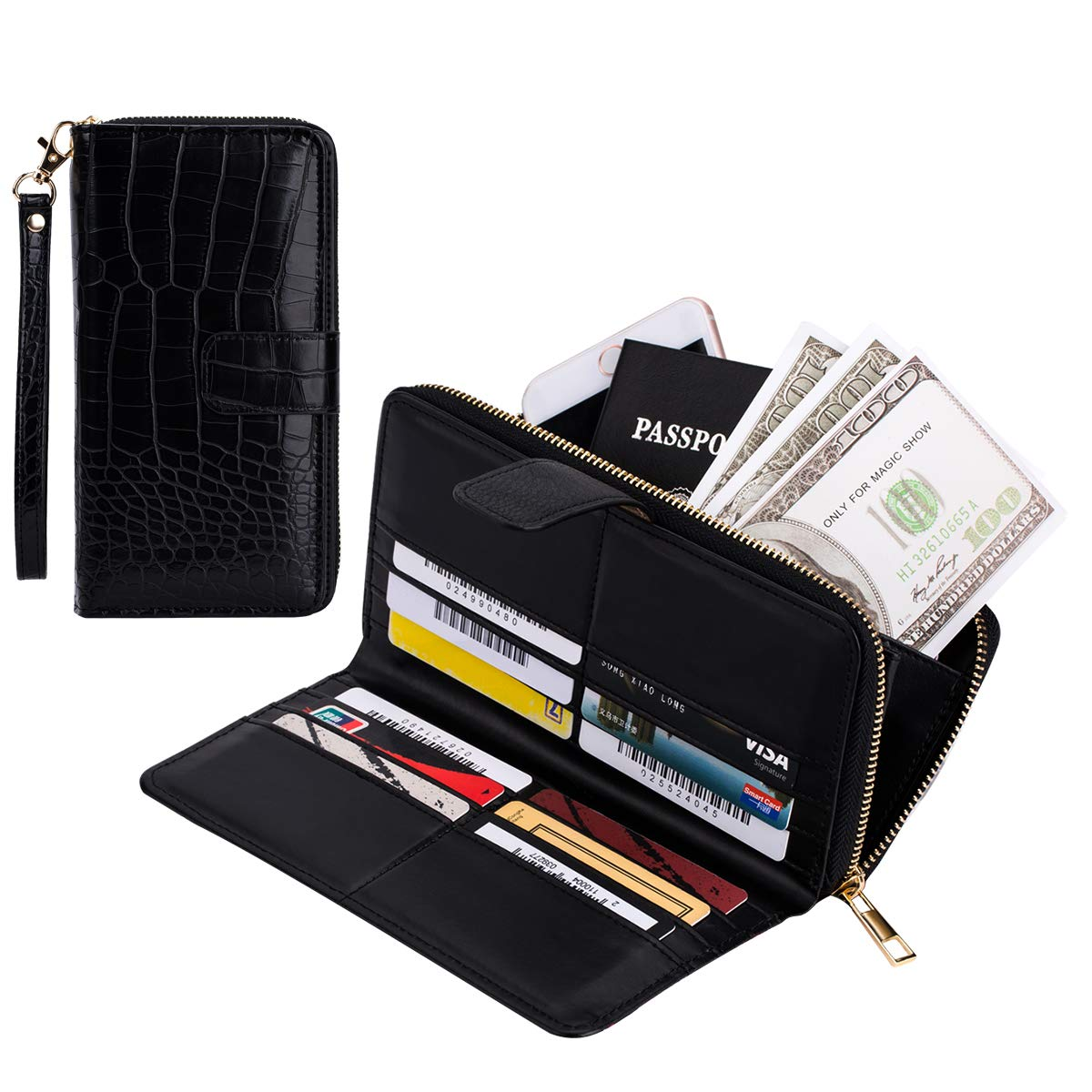 Womens Rfid Blocking Zip Around Wallet Clutch Large Capacity Travel Purse Wristlet