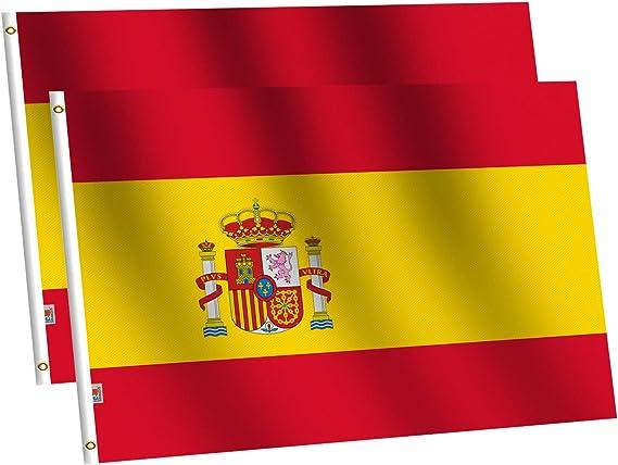 rhungift Bandera de España Grande 90x150cm- 2pcs Bandera de España balcón para Exterior Reforzada y con 2 Ojales metálicos, Bandera España Grande Spanish Flag: Amazon.es: Jardín
