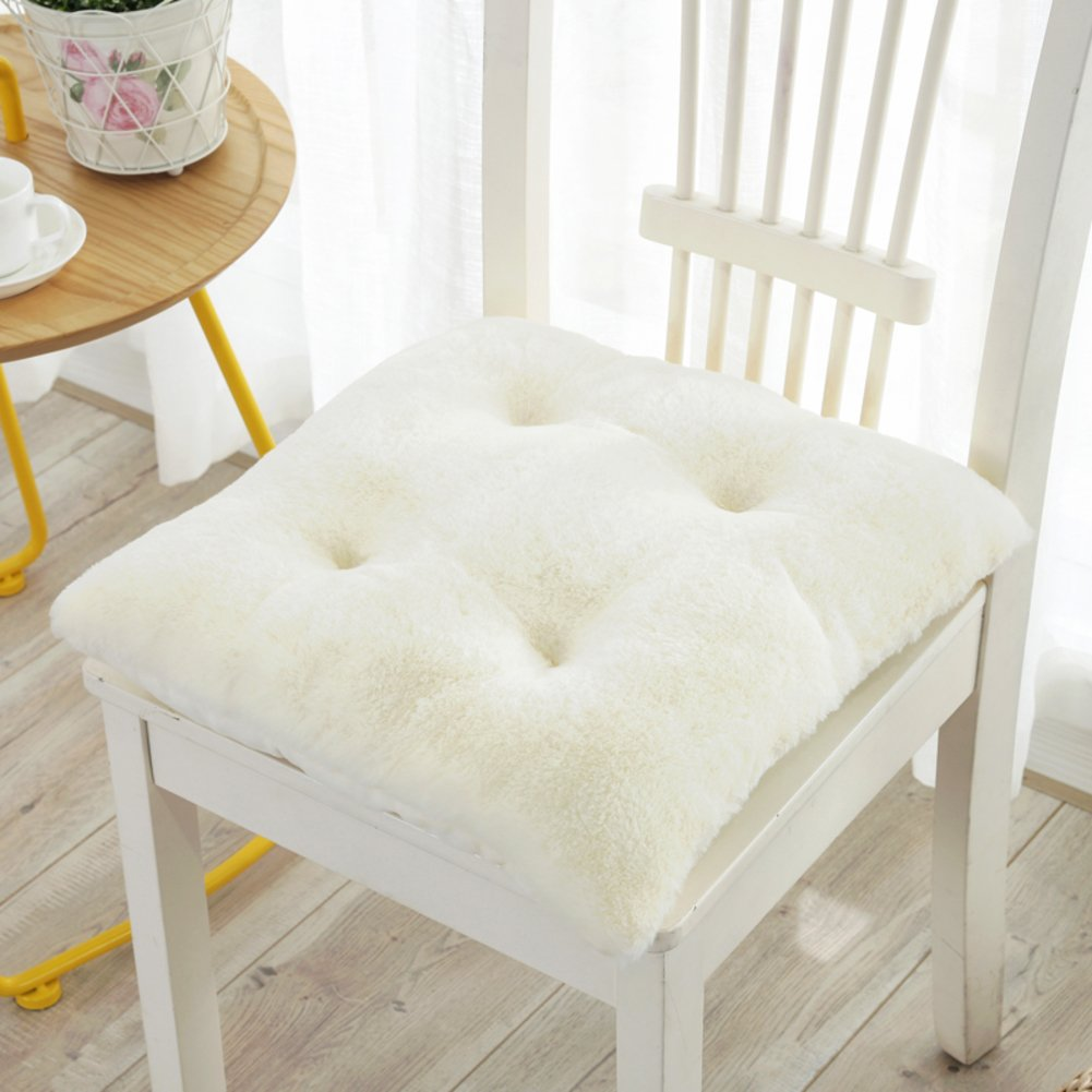 Double Sided Thickened Plush Seat Cushion, Office Non-Slip Breathable Chair Cushions Washable Dining Chair Seat pad-White 43x43cm DDJIE
