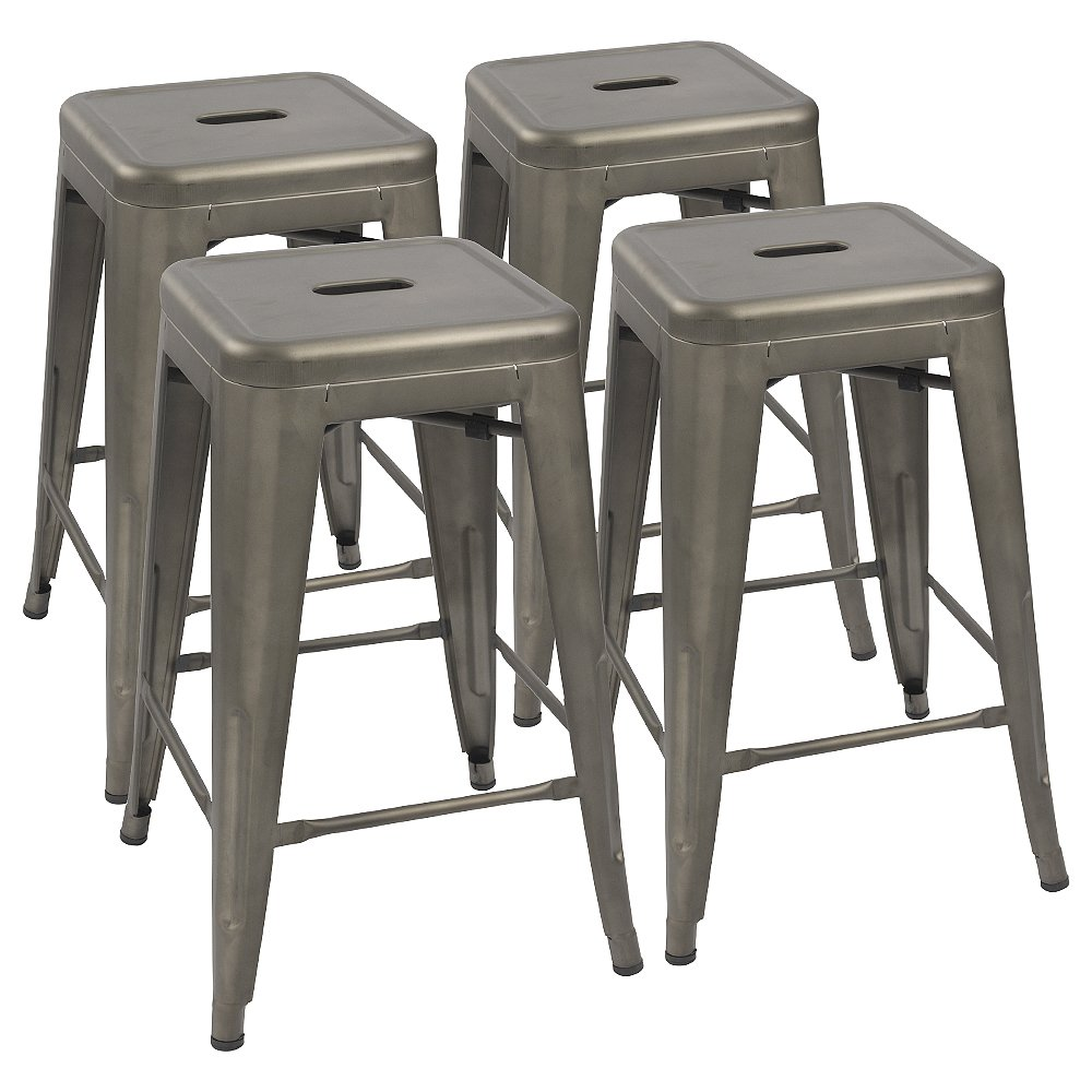 Devoko Metal Bar Stools 24 Indoor Outdoor Stackable Barstools Modern Style Industrial Vintage Counter Bar Stools Set of 4 Gun