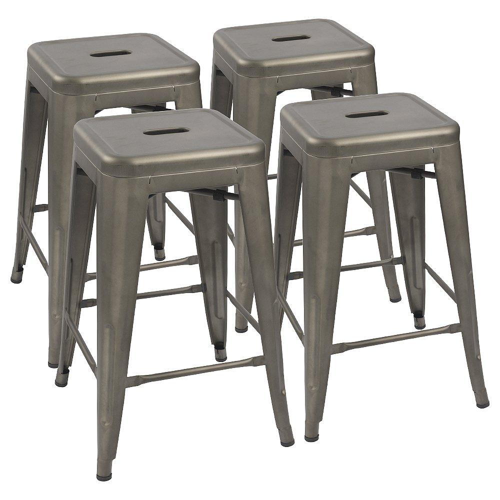 Devoko Metal Bar Stools 24'' Indoor Outdoor Stackable Barstools Modern Style Industrial Vintage Counter Bar Stools Set of 4 (Gun) by Devoko