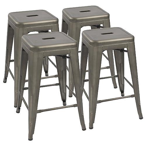 Devoko Metal Bar Stools 24 Indoor Outdoor Stackable Barstools Modern Style Industrial Vintage Counter Bar Stools Set of 4 Gun