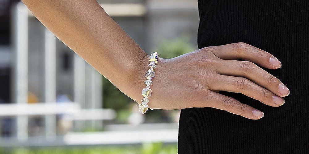 Devin Rose Hologram Cube and Briolette Design Bracelet for Women Made with Aurore Boreale Swarovski Crystals