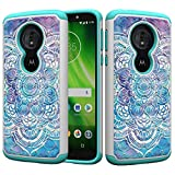 Moto G6 Play Glitter Case and Screen Protector,QFFUN Bling Crystal Rhinestone Diamonds Soft Silicone Inner + Hard Plastic Back Hybrid Double Layer 2 in 1 Shockproof Anti-scratch Mobile Phone Protective Cover for Moto G6 Play Case - Mandala