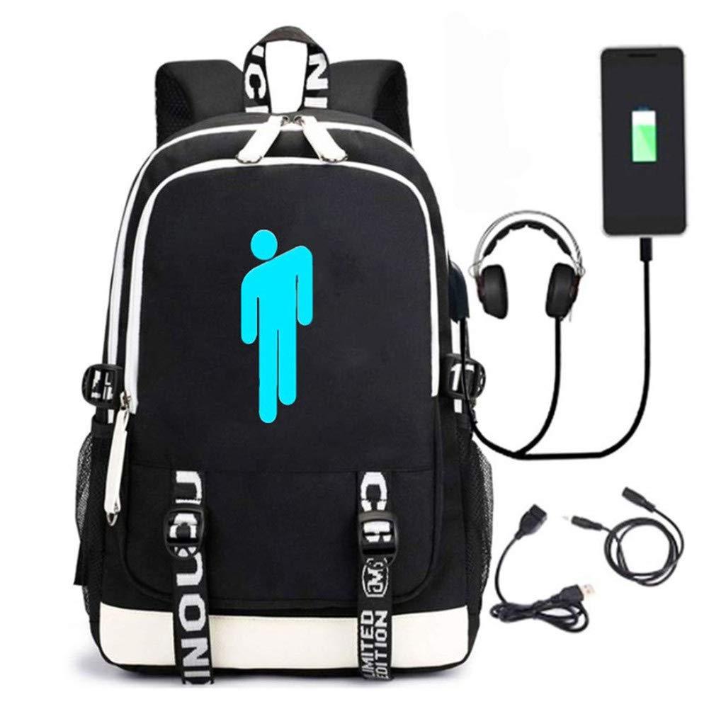 Luminous Backpack Billie Eilish Schultasche Large Volume 36L mit USB-Ladeanschluss und Audio Line Unisex School Book Bag Rucksack