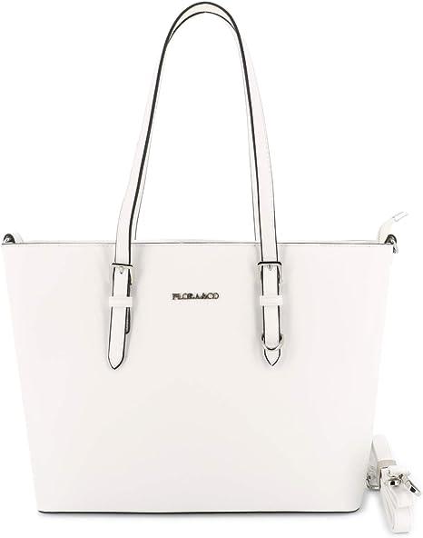 Flora&Co Sac Cabas Femmes Grande Taille XL Sac à Main Porté Epaule Rigide Sac Lycéenne Format A4 Silimicuir Bicolore (Blanc)
