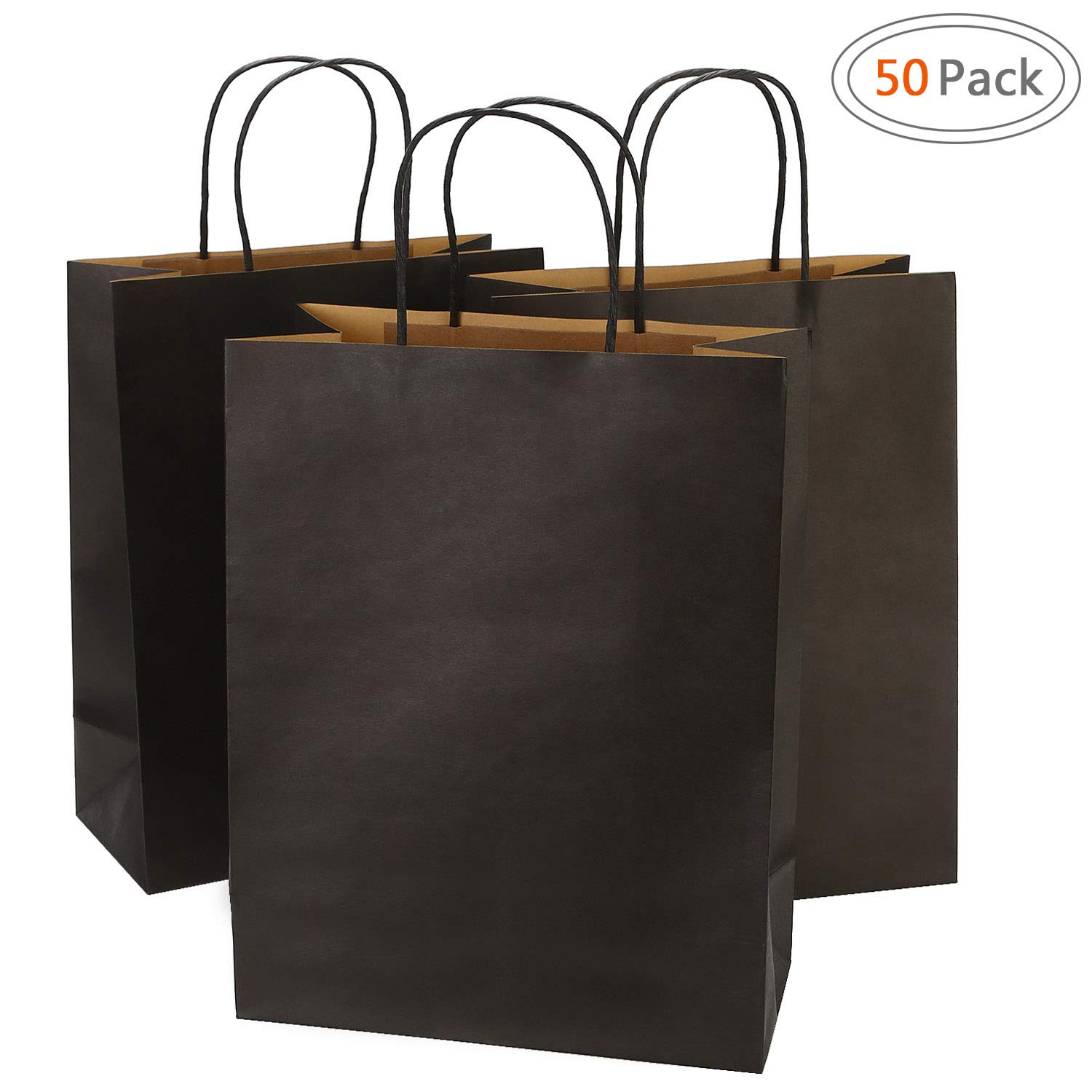 Road 10x5x13 Inches 50pcs Black Kraft Paper Bags with Handle, Gift , Shopping Bag, Merchandise , Party Bag