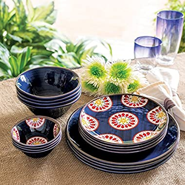 Melamine Dinnerware 16-Piece Set (Blue)