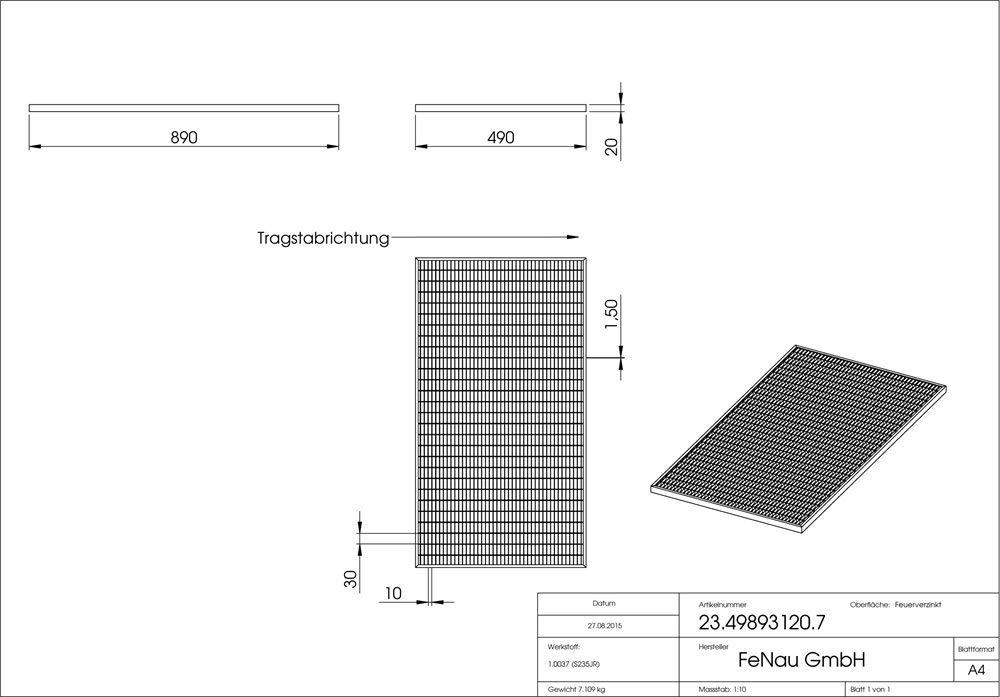 feuerverzinkt /– mit Aussparung f/ür Maueranker Gitterrost-Zarge Ma/ße: 500 x 900 x 28 mm f/ür Rosth/öhe von 25 mm Fenau Passend f/ür Baunorm-Rost: Fenau 490 x 890 x 25 mm -