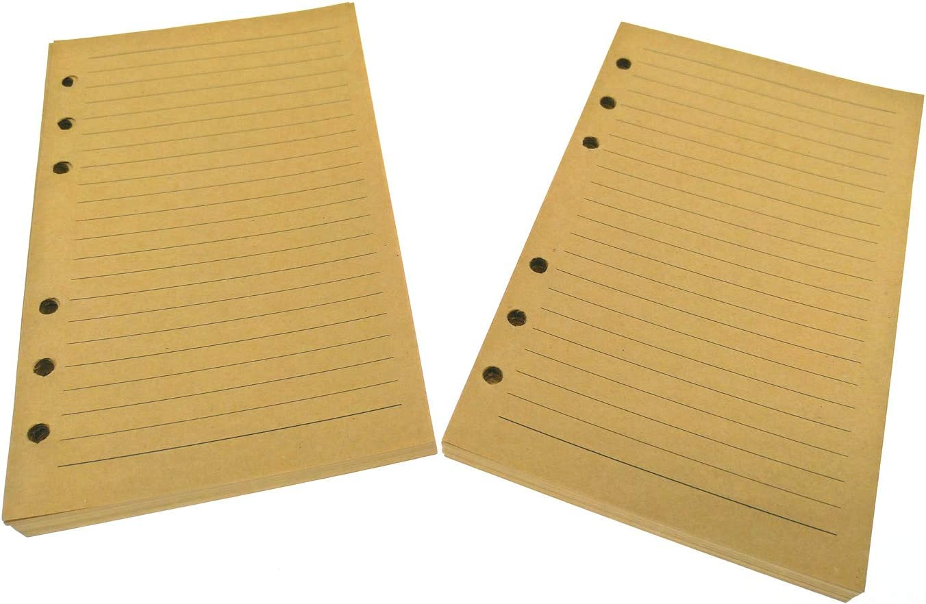 , Ruled Lines Brown Paper A6 7inches 2 Pack 6 Holes Refillable Paper for Vintage Leather Writing Journal Diary Spiral Notebook